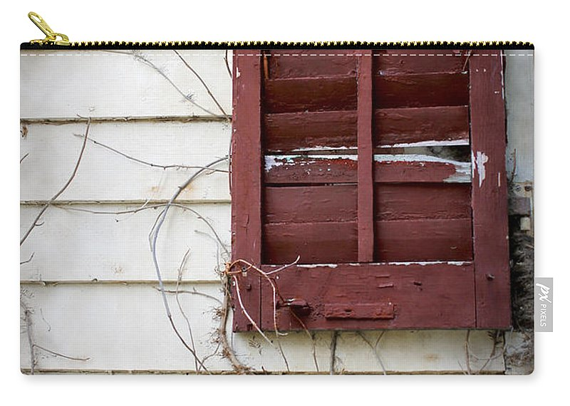 Dilapidated Carry-all Pouch featuring the photograph Old House Red Shutter 3 by Robin Lewis