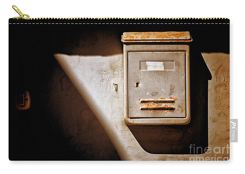 Shadows Carry-all Pouch featuring the photograph Old Mailbox With Doorbell by Silvia Ganora