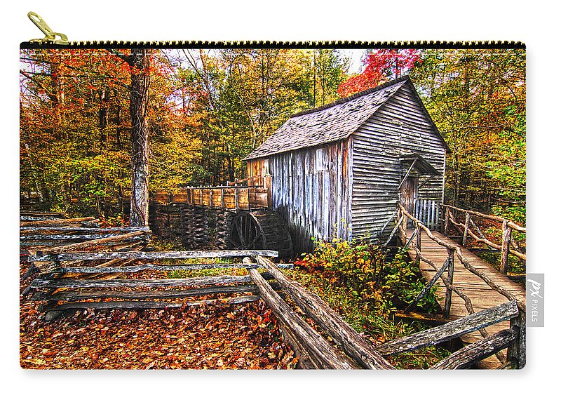 Old Mill Carry-all Pouch featuring the photograph old mill Smoky Mountains by Randall Branham