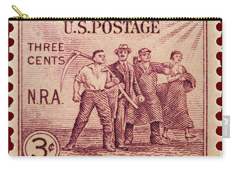 Old Nra Postage Stamp Carry-all Pouch featuring the photograph Old Nra Postage Stamp by James Hill