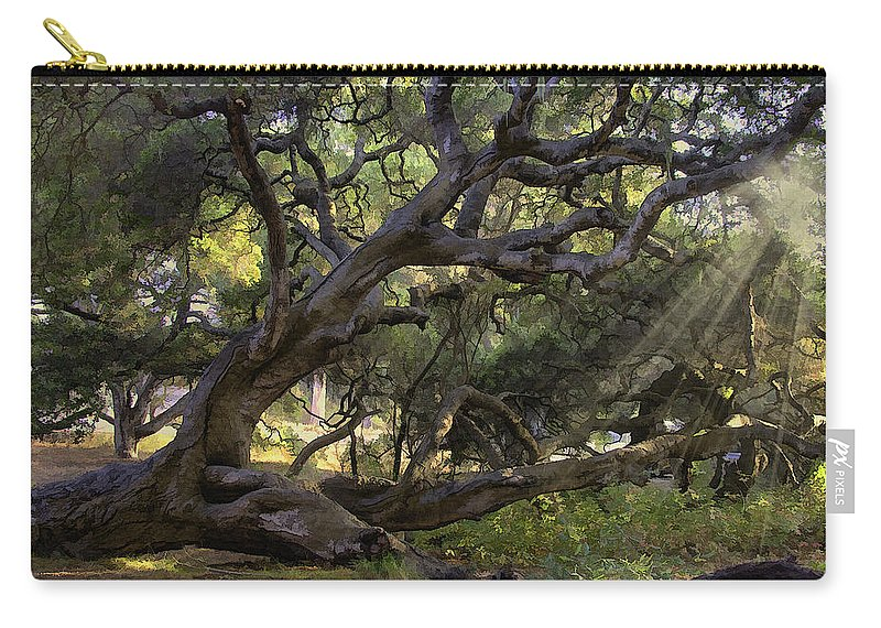 Tree Carry-all Pouch featuring the digital art Old Oak by Sharon Foster
