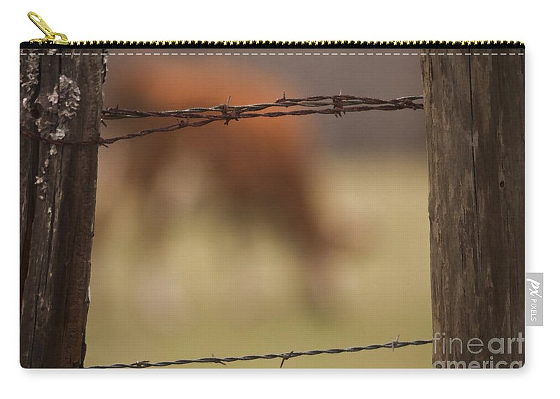 Fences Carry-all Pouch featuring the photograph Old Post Fence by Kim Henderson