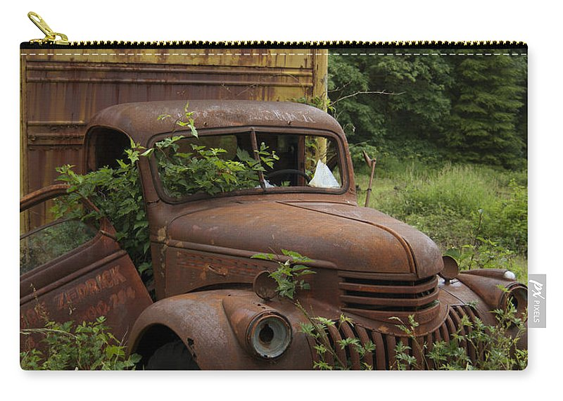 Old Truck In Rain Forest Carry-all Pouch featuring the photograph Old Truck In Rain Forest by Gary Langley