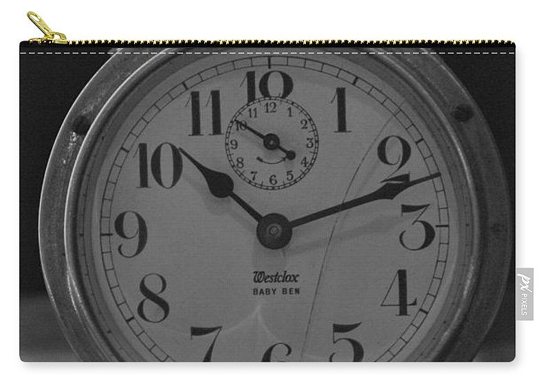 Clock Carry-all Pouch featuring the photograph Old Westclock In Black And White by Rob Hans