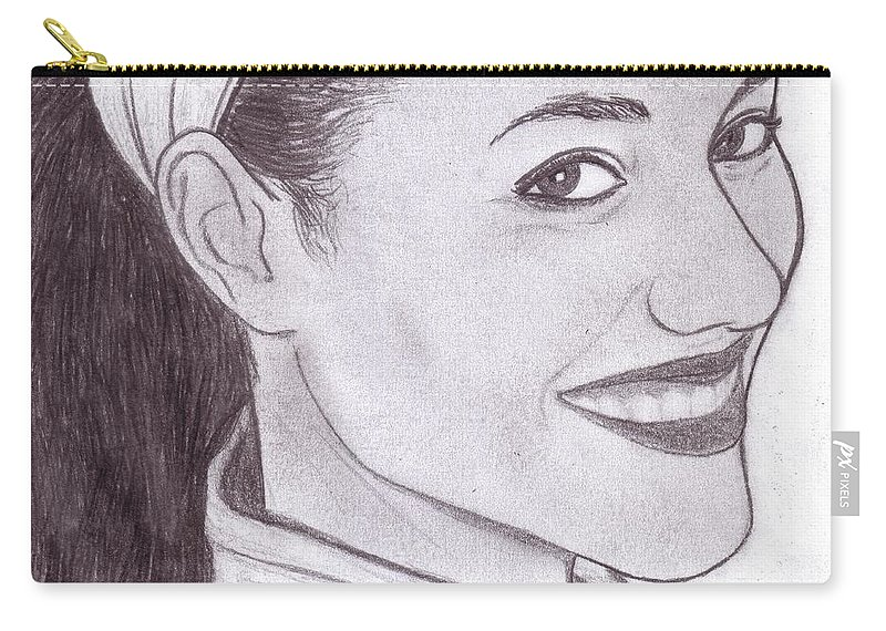 Smile Carry-all Pouch featuring the digital art Olga by Toualith MEANGO