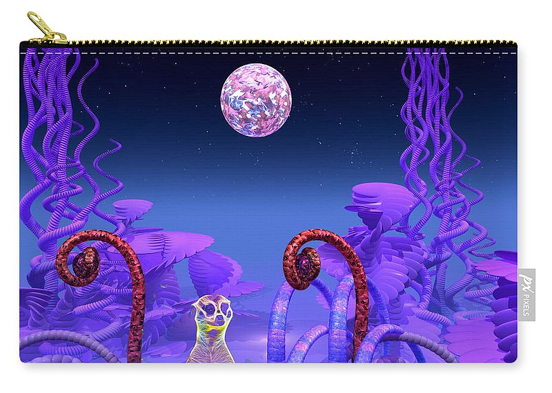 Meerkat Carry-all Pouch featuring the mixed media On Another Planet by Douglas Barnard