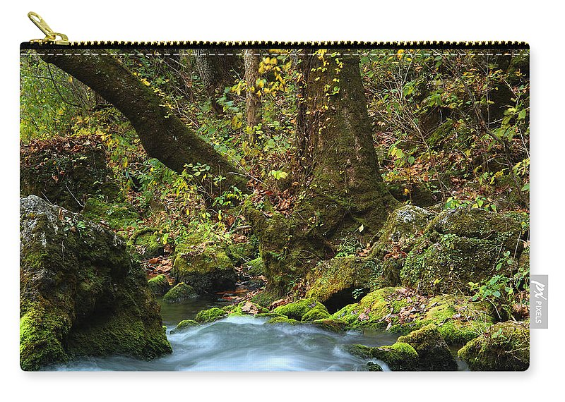 Big Spring Carry-all Pouch featuring the photograph On The Banks Of Big Spring In The Missouri Ozarks by Greg Matchick
