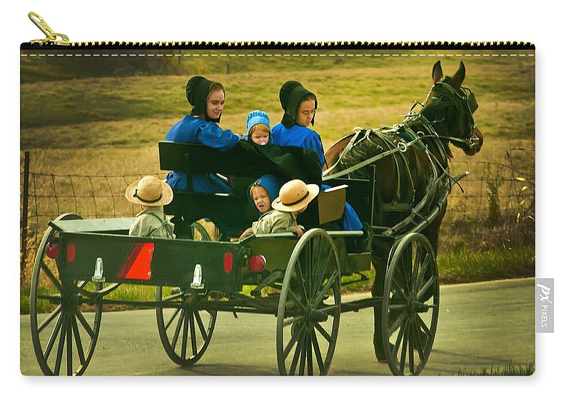Amish Carry-all Pouch featuring the photograph On Way Home From Church by Randall Branham