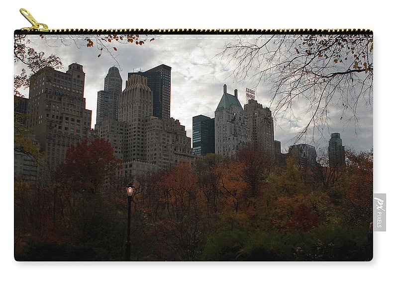 New York City Carry-all Pouch featuring the photograph One Light On In Central Park by Lorraine Devon Wilke