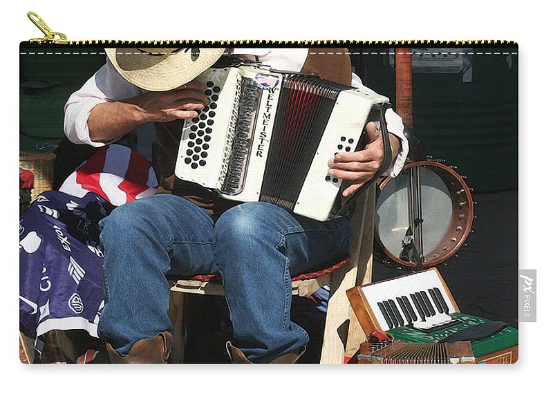 Music Carry-all Pouch featuring the photograph One Man Band by Terry Fiala
