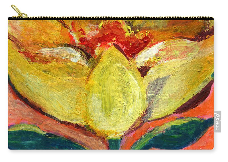 Flower Carry-all Pouch featuring the painting One Yellow Flower And Pinky Peach Behind by Ashleigh Dyan Bayer