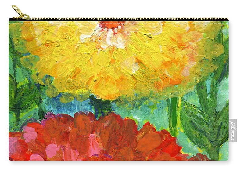 Flowers Carry-all Pouch featuring the painting One Yellow One Red And Orange Flower Shines by Ashleigh Dyan Bayer