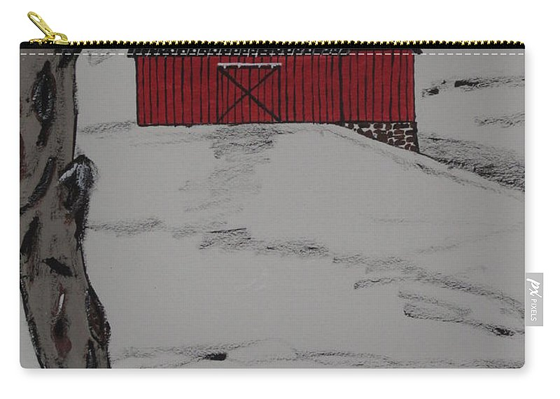 Red Barn Carry-all Pouch featuring the painting Only A Winter Day by Jeffrey Koss