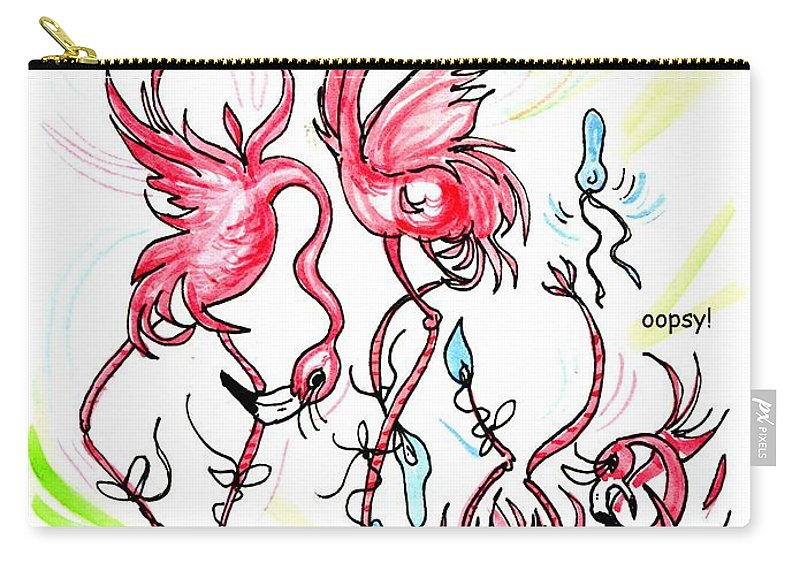 Flamingos Carry-all Pouch featuring the drawing Oopsy by Lizi Beard-Ward