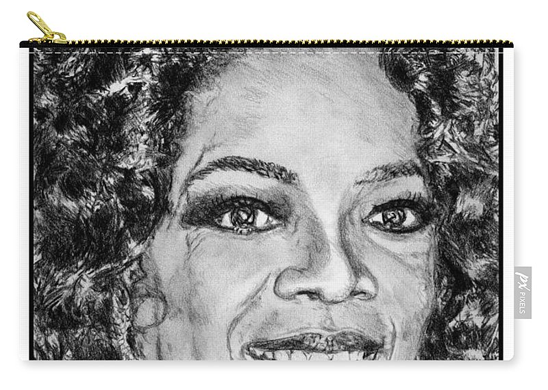 Oprah Winfrey Carry-all Pouch featuring the drawing Oprah Winfrey In 2007 by J McCombie