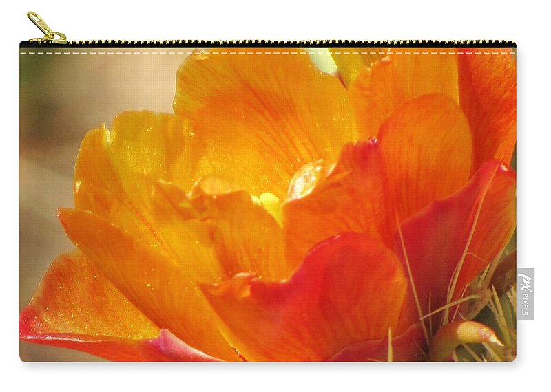 Orange Cactus Flower Carry-all Pouch featuring the photograph Orange Cactus Flower by Michelle Cassella