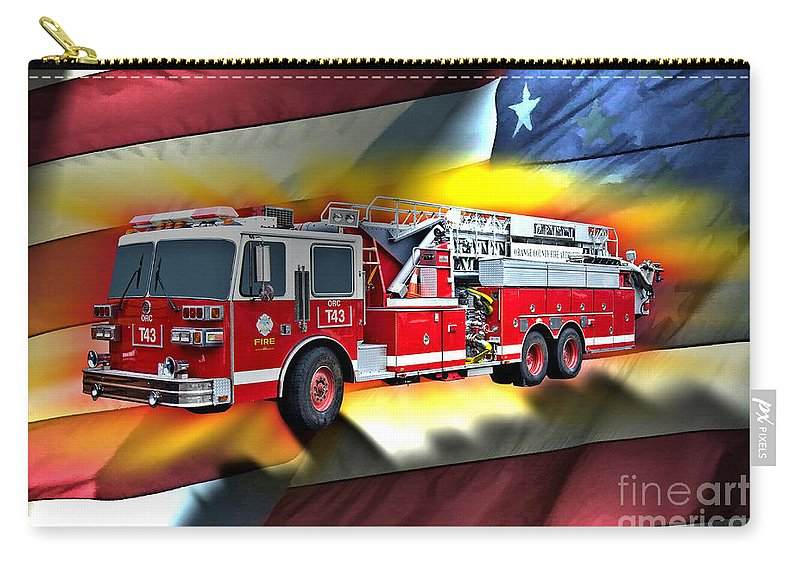 Sutphen Carry-all Pouch featuring the digital art Orange Fire Auth T43 by Tommy Anderson