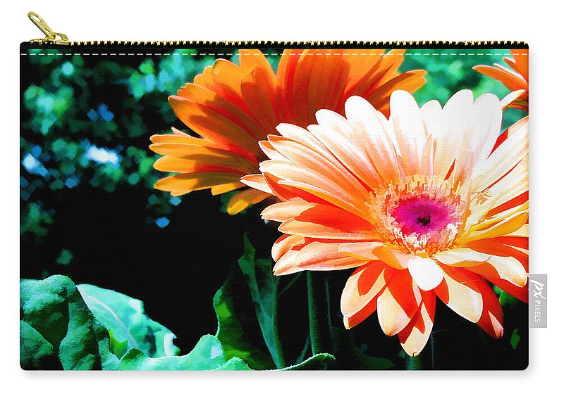 Flower Flowers Daisy Gerber Gerber+daisy Gerber+daisies Daisies Leaf Leaves Garden Flora Floral Nature Natural Bloom Blooms Blossoms Blossom Bouquet Arrangement Colorful Plant Plants Botanical Botanic Blooming Gardens Gardening Tropical Carry-all Pouch featuring the painting Orange Gerber Daisies by Elaine Plesser