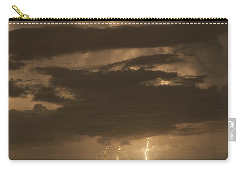 Lightning Carry-all Pouch featuring the photograph Orange Lightning by Stephen Whalen