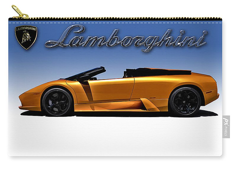 Lamborghini Carry-all Pouch featuring the digital art Orange Murcielago by Douglas Pittman