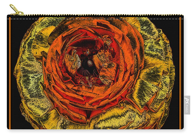 Orange Ranunculus Carry-all Pouch featuring the photograph Orange Ranunculus With A Chrome Effect by Rose Santuci-Sofranko
