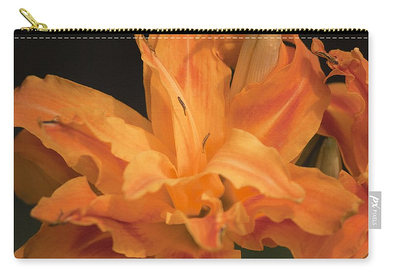 Daylily Carry-all Pouch featuring the photograph Orange Ruffles by Teresa Mucha