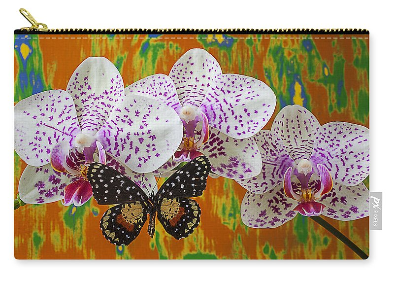 Speckled Butterfly Carry-all Pouch featuring the photograph Orchids With Speckled Butterfly by Garry Gay