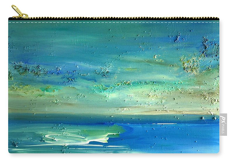 Blue Painting Carry-all Pouch featuring the painting Organic Seascape by Dolores Deal