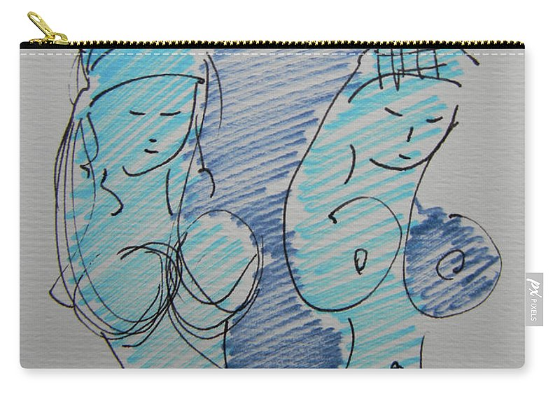 Strip Carry-all Pouch featuring the drawing Original Sketch For The Stripper's Mirror by Marwan George Khoury