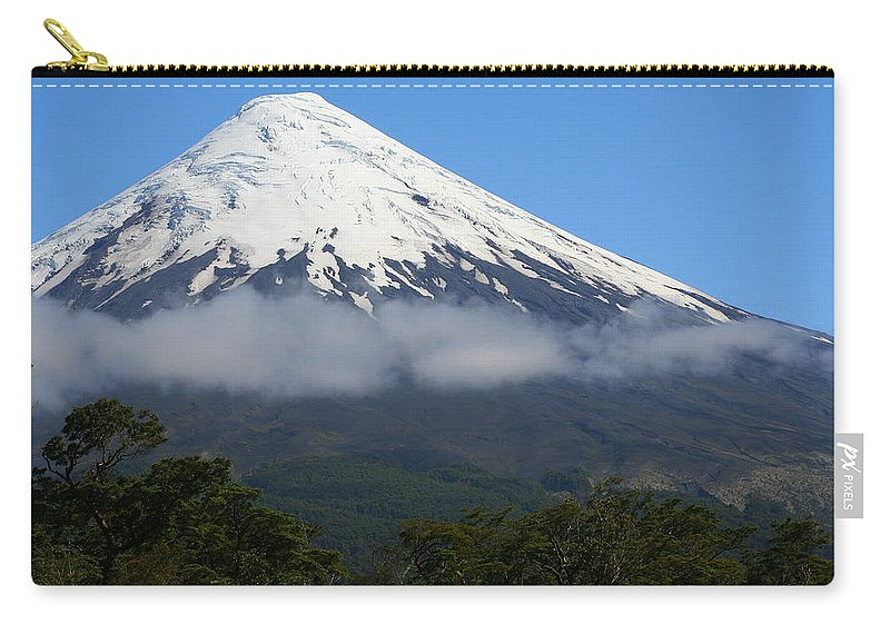 Cloud Carry-all Pouch featuring the photograph Osorno Volcano Ringed By Clouds by Laurel Talabere