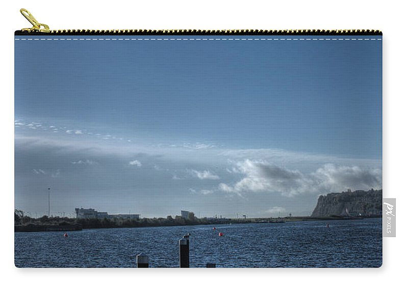 Landing Jetty Carry-all Pouch featuring the photograph Out Into The Bay by Steve Purnell