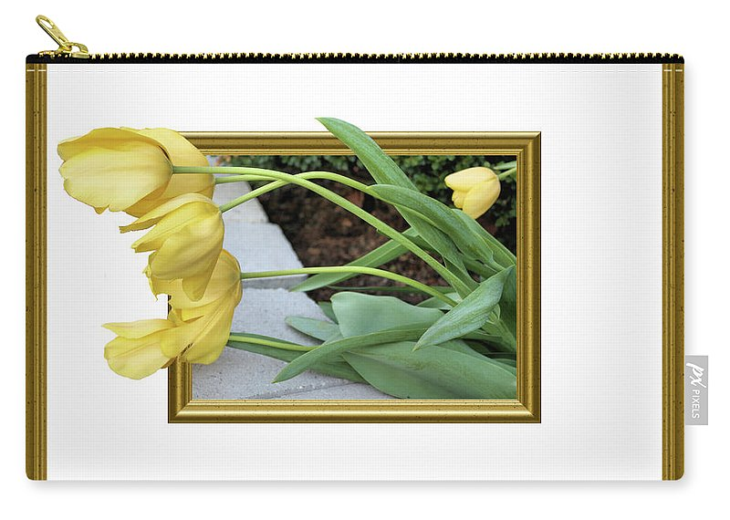 Tulips Carry-all Pouch featuring the photograph Out Of Frame Yellow Tulips by Kristin Elmquist