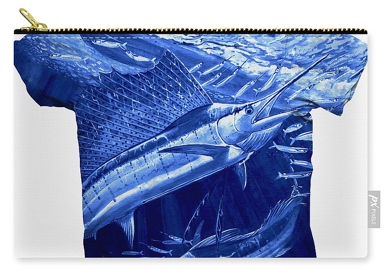 Carey Chen Clothing Carry-all Pouch featuring the digital art Out Of Sight Mens Blue Shirt by Carey Chen