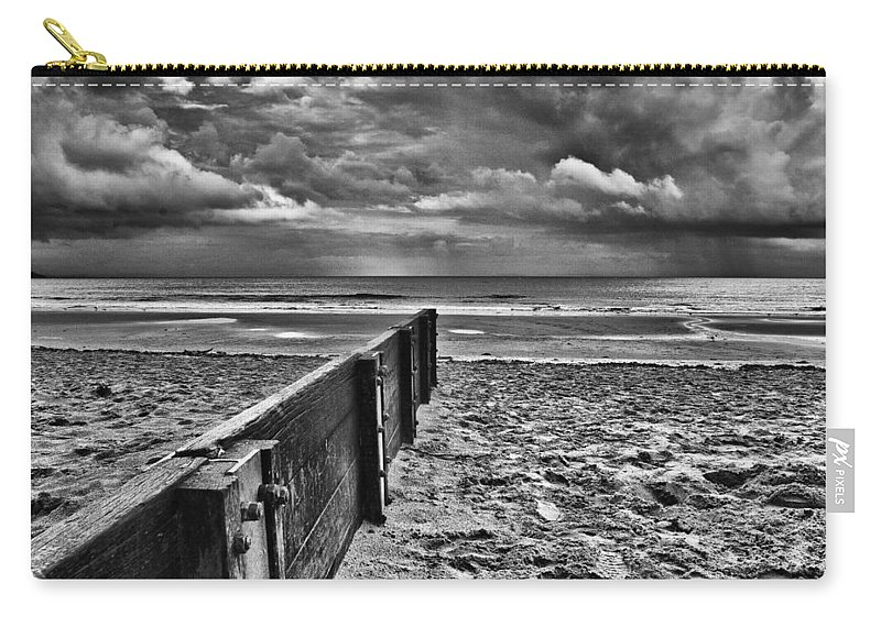 Groyne Carry-all Pouch featuring the photograph Out To Sea Monochrome by Steve Purnell