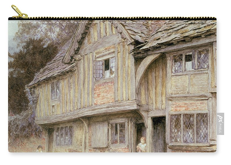 Broom; Chickens; Leaded Windows Carry-all Pouch featuring the painting Outside A Timbered Cottage by Helen Allingham
