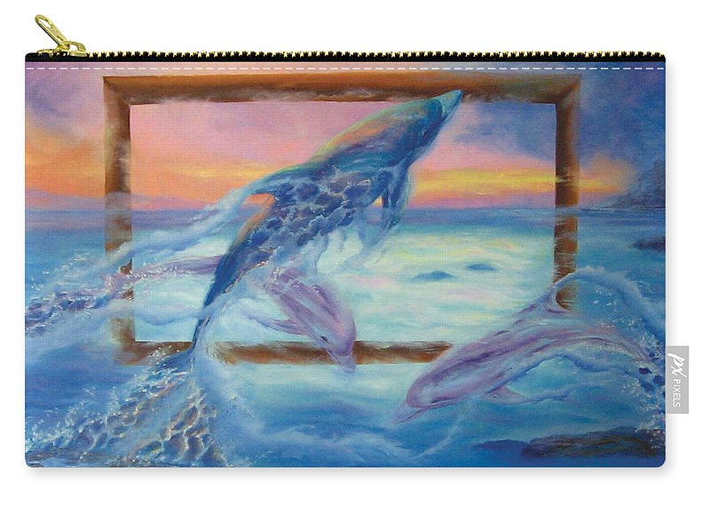 Dolphins Carry-all Pouch featuring the painting Outside The Frame by Diane Quee