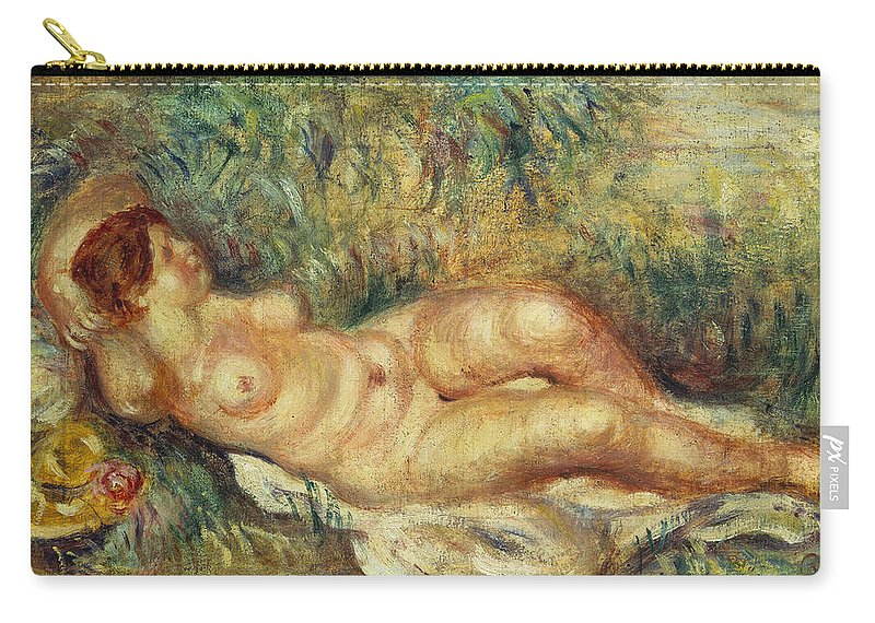 Impressionist; Impressionism; Portrait; Female; Nude; Lying; Reclining Carry-all Pouch featuring the painting Outstretched Nude by Pierre Auguste Renoir