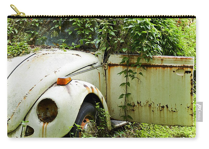 Vw Bug Carry-all Pouch featuring the photograph Outta Here by Carolyn Marshall