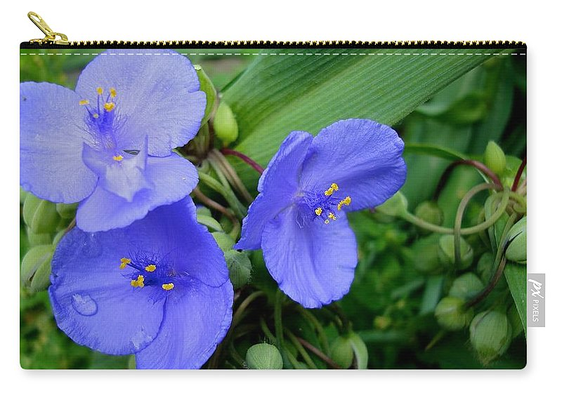 Blue Flower Carry-all Pouch featuring the photograph Over The Fence by Joseph Yarbrough