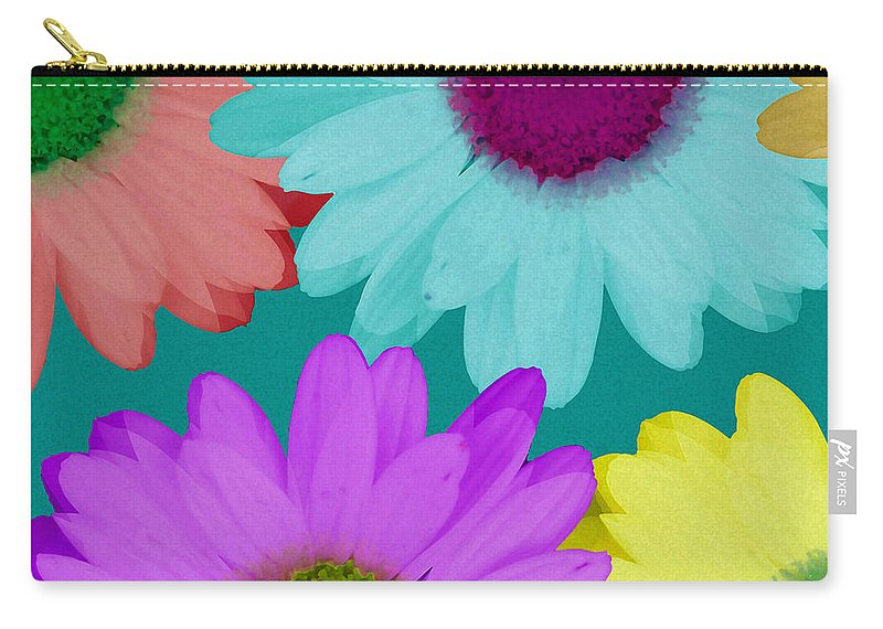 Daisy Carry-all Pouch featuring the mixed media Oversize Daisies Two by Ruth Palmer
