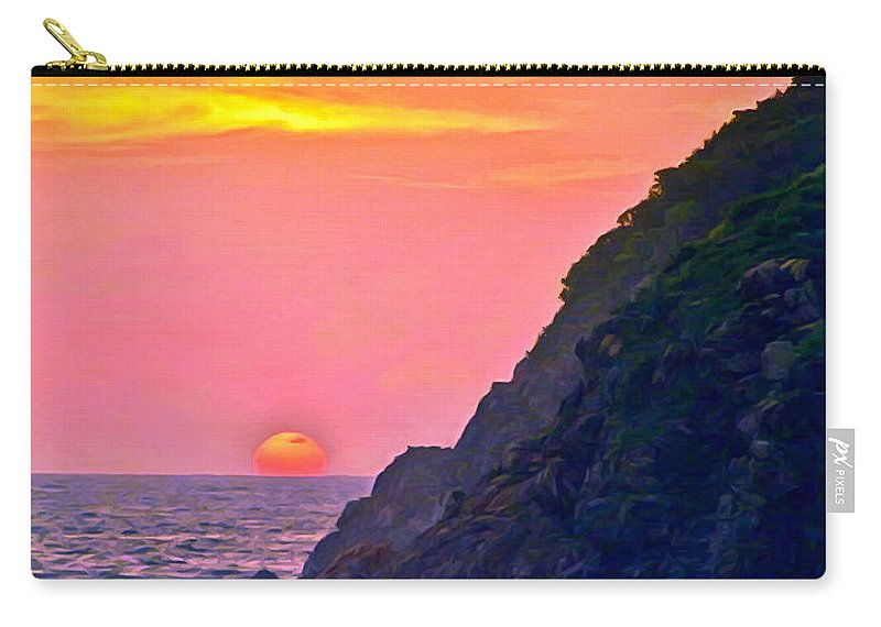Beach Carry-all Pouch featuring the painting Pacific Sunset by Bob and Nadine Johnston