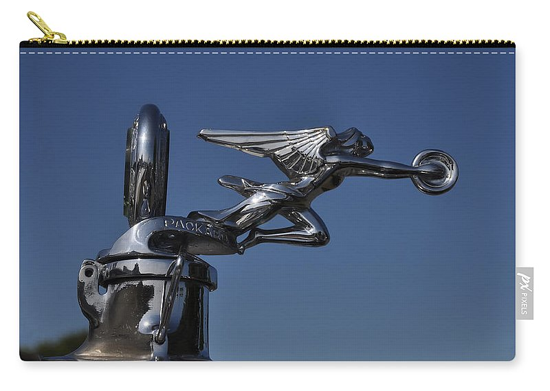 Packard Angel Hood Ornament Carry-all Pouch featuring the photograph Packard Angel Hood Ornament by Bill Cannon