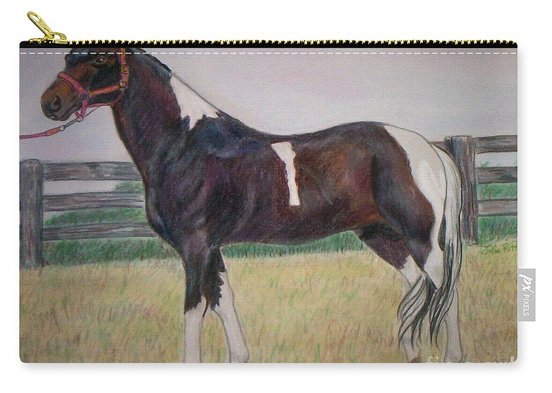 Paint Pony Carry-all Pouch featuring the drawing Paint by Julie Brugh Riffey