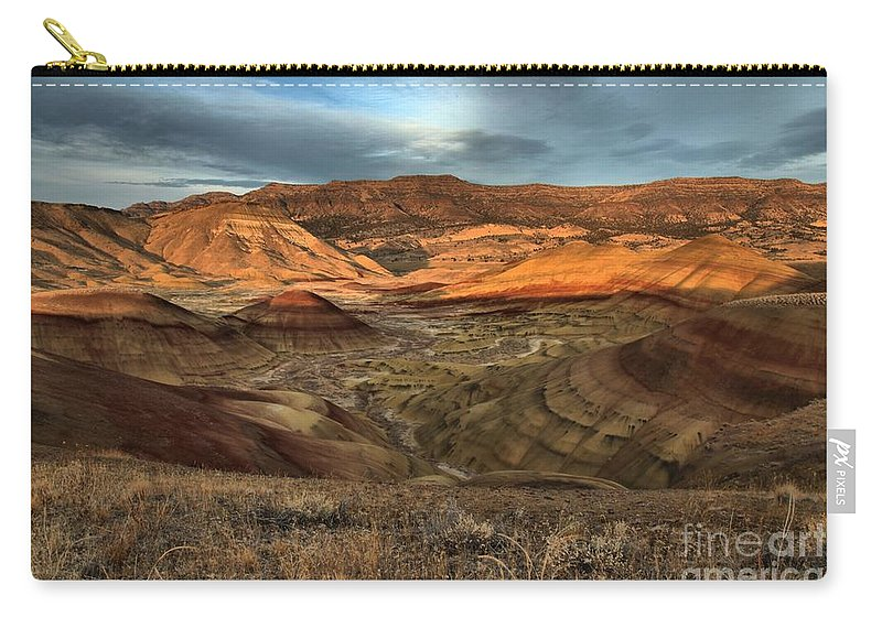 John Day Fossil Beds Carry-all Pouch featuring the photograph Painted Hills In The Fossil Beds by Adam Jewell
