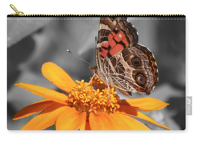Butterfly Carry-all Pouch featuring the photograph Painted Lady Butterfly On Zinnia by Jim And Emily Bush