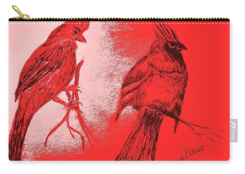 Cardinal Carry-all Pouch featuring the drawing Pair Of Cardinals by Maria Urso