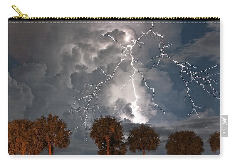 Lightning Carry-all Pouch featuring the photograph Palms And Lightning by Stephen Whalen