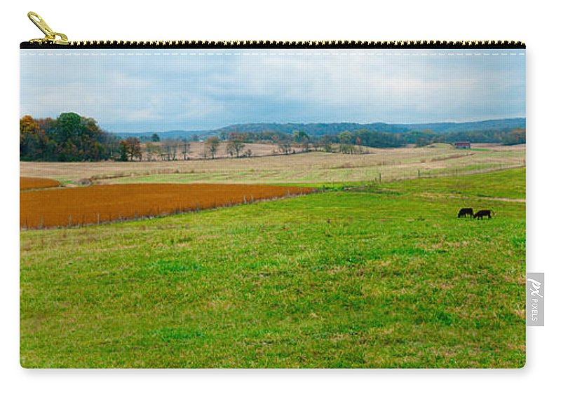 Panorama Valley Farm Carry-all Pouch featuring the photograph Panorama Valley Farm by Randall Branham