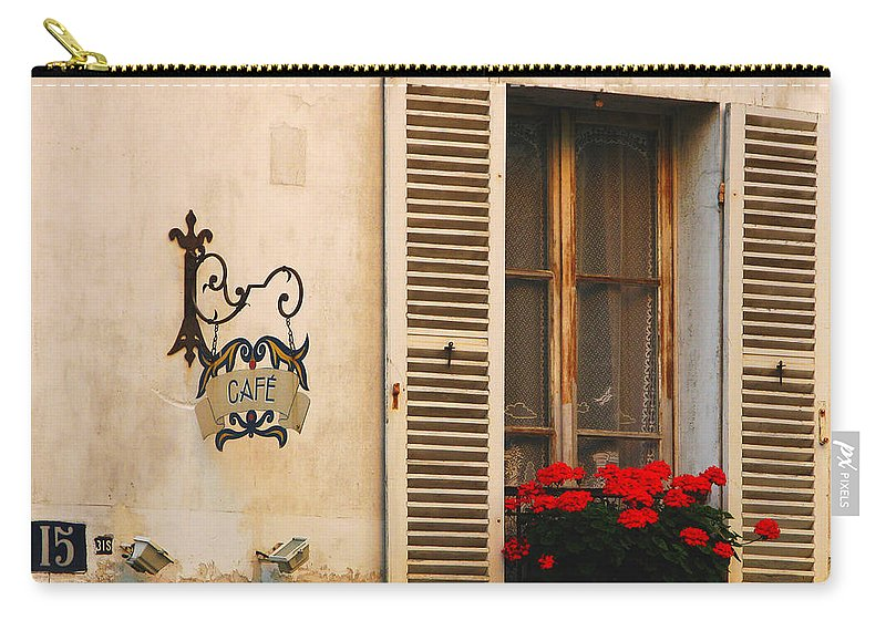 Cafe Carry-all Pouch featuring the photograph Paris Cafe On Montmartre by Greg Matchick