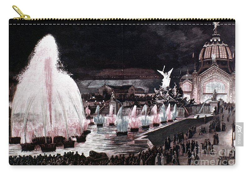 1889 Carry-all Pouch featuring the photograph Paris: Fountains, 1889 by Granger